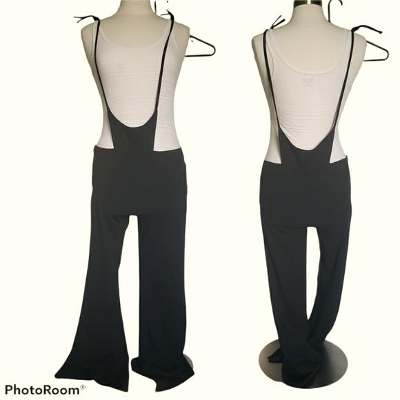 Shein Black Tie Shoulder Suspender Jumpsuit - M